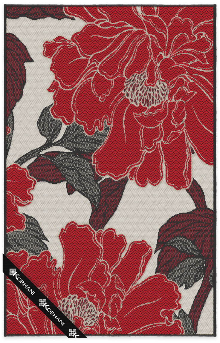 Flatweave rug, red flowers - image
